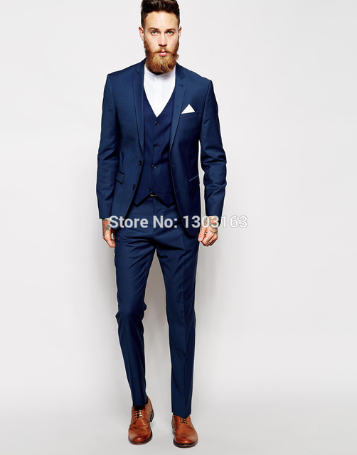 Custom Made Navy Blue Men Suit Tailor Bespoke Wedding