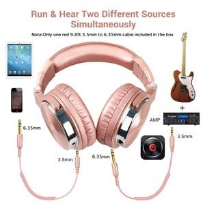 Image 5 - OneOdio profesjonalne Studio DJ przewodowe słuchawki z mikrofonem na ucho monitory HiFi muzyczny zestaw słuchawkowy słuchawka do telefonu PC różowy
