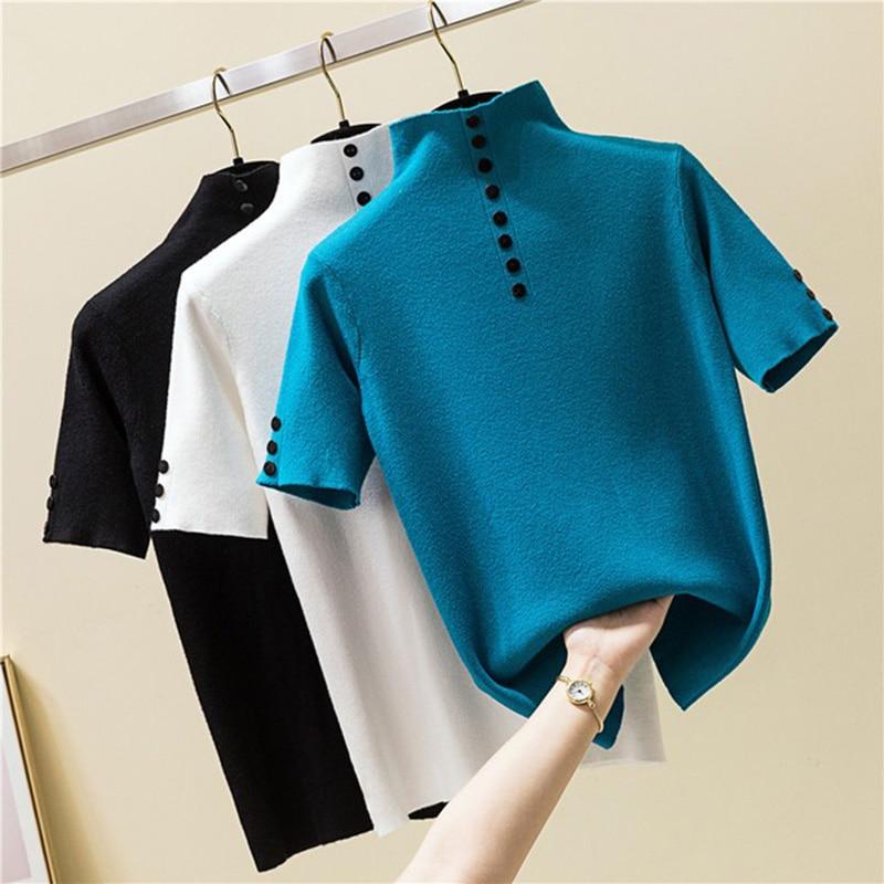 2019 Summer Vogue Knitted Button   T     shirt   Women Turtleneck Short Sleeve Slim Solid Tee   Shirt   Femme Ladies Pullover Tshirt Tops