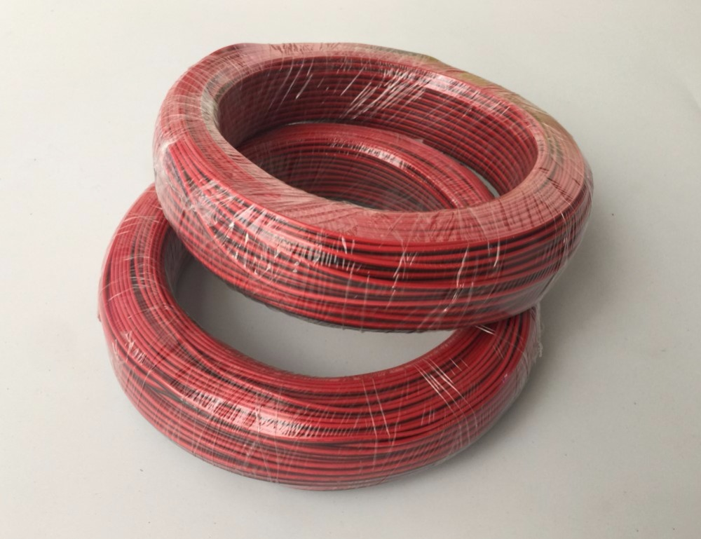LED ul fils de bande 100 mètres/lot pour couleur unique rouge et noir 2 broches câble extension de fil norme AWG20