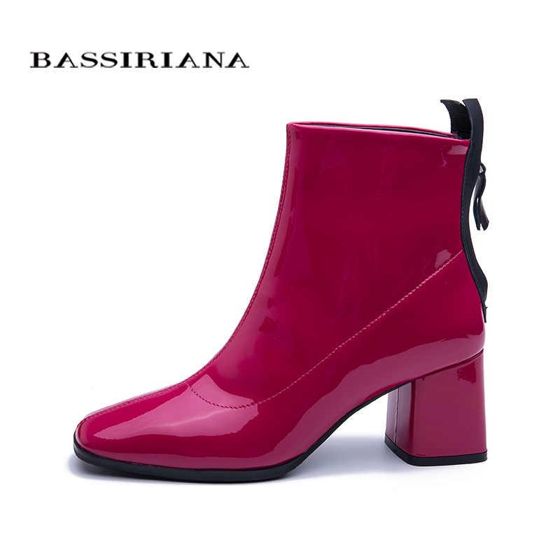 BASSIRIANA 2019 yeni model çizmeler kadınlar için hakiki deri ayakkabı yüksek topuk patik pembe vernikli deri
