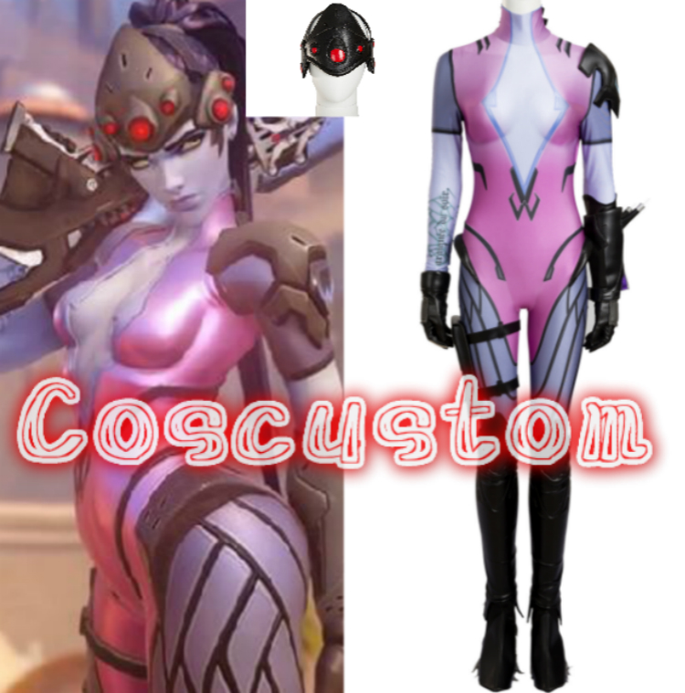 Coscustom High Quality Widowmaker Costume OW Costume Sexy Widowmaker jumpsuit Cosplay Costume Custom Made