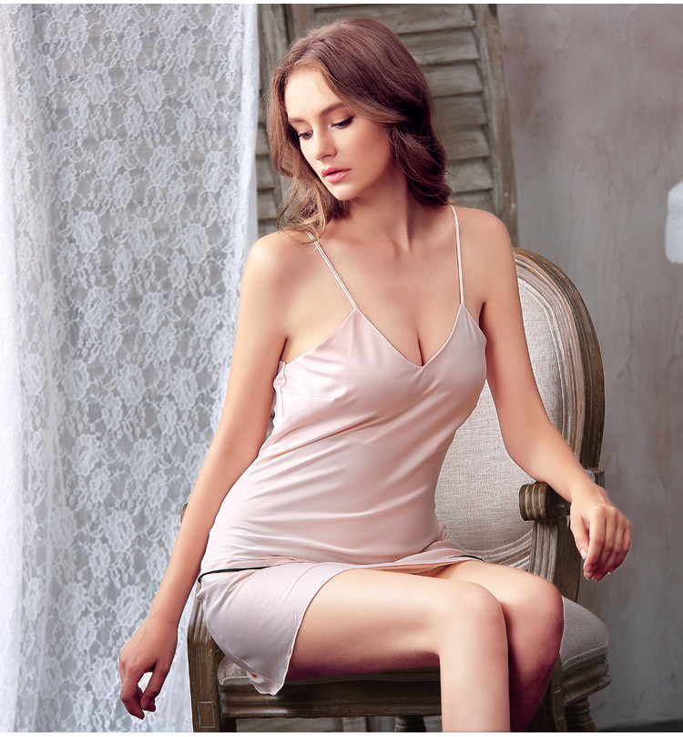 Soft Silk Ice Mini Sleeping Dress Sexy Women Short   Nightgowns     Sleepshirts   Sleeveless Slip Dress Rayon Indoor Home Lounge Wear