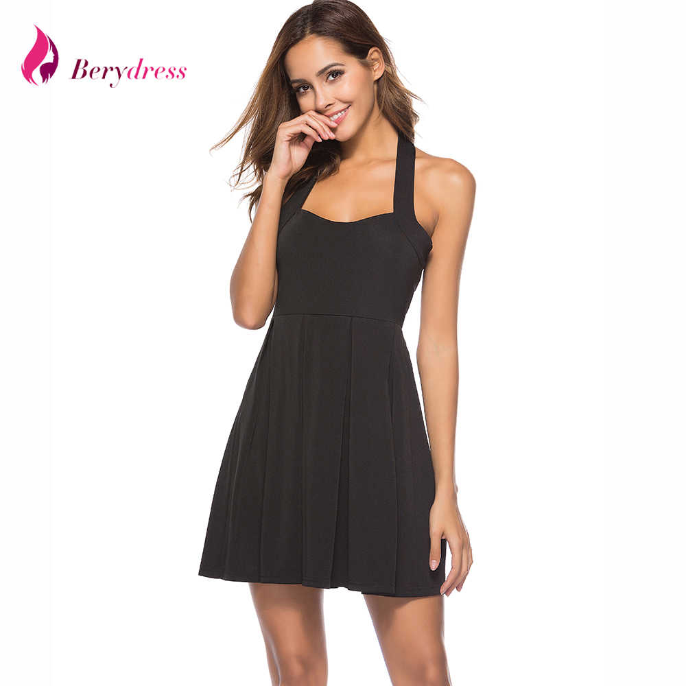 ac66259c3c8974a Berydress Сексуальное Женское Платье с открытой спиной плиссированное платье  мини-клуб ТРАПЕЦИЕВИДНОЕ черное приталенное платье
