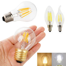 10Pcs/Lot Edison Retro E12 E27 E14 Dimmable G45 A60 2W 4W 6W 8W LED Bulb Light Vintage Filament Lamps Replace Incandescent(China)