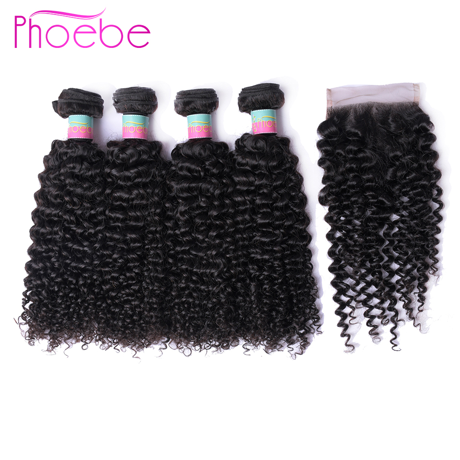 Phoebe Hair Pre Colored Kinky Curly 4 Bundles With Lace Closure Peruvian Hair Weave Bundles Non