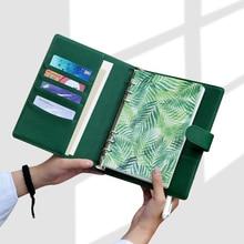 オフィスビジネスフォルダノートブックジャーナルグリーンルーズリーフバインダーアジェンダ2021ノートブックプランナーA5 A6ハードカバー日記メモ帳
