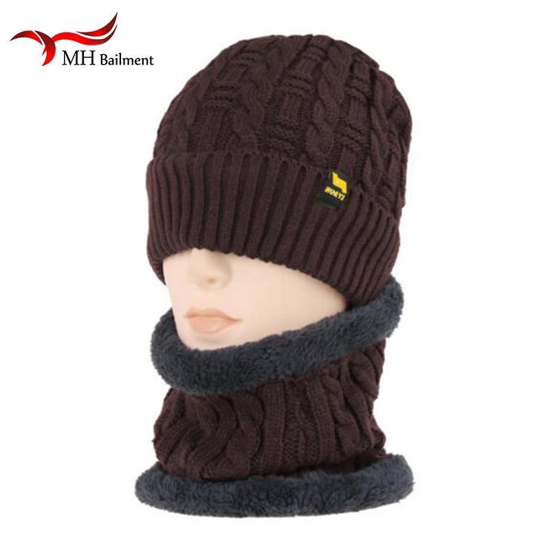 Autumn Winter Warm Woman Hats Scarves Set Thick Plus Velvet Men Women Men Wool Cap Collar 2pcs Set Boy Girl New Hat Scarf