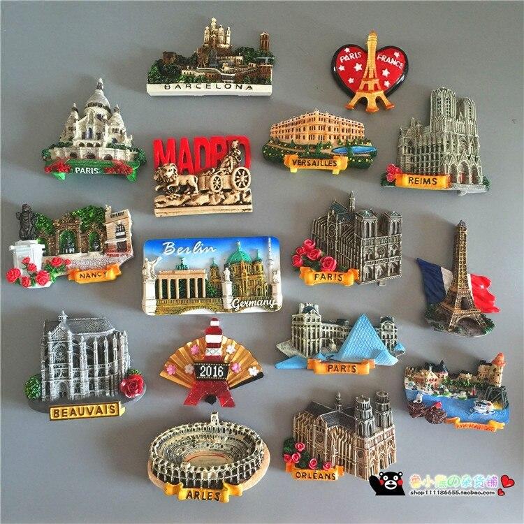 Francia Madrid de la Iglesia Mundial del Turismo paisaje nevera 3D imanes de refrigerador etiqueta engomada magnética casa decoración regalo
