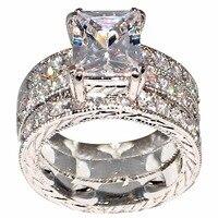 Сверкающие Винтажные Украшения 10KT белого золота Заполненные Принцесса Cut 5A кубического циркония вечерние женские свадебные 3 в 1 кольцо наб