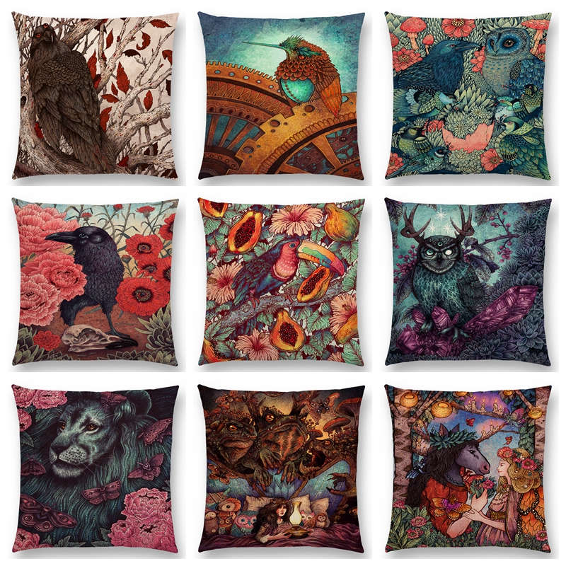 Dark Magic Augury Bird Sofa Pillow Case Three Eyes Raven Steampunk Hummingbird Night Princess Lion Owl Cushion Cover