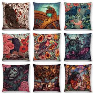 Dark Magic Augury Bird Sofa Pillow Case Three Eyes Raven Steampunk Hummingbird Night Princess Lion Owl Cushion Cover(China)