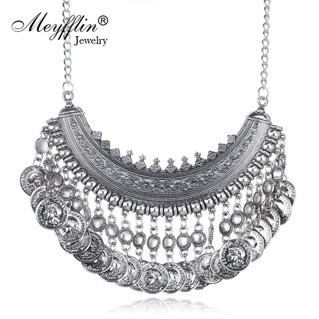 f413ce4462b0 Vintage Maxi Necklace Bohemian Statement Necklaces Pendants for Women Coin  Choker Collier Femme Boho Jewelry Christmas Gifts