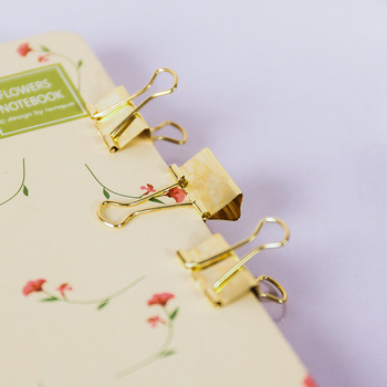 3pcs/lot Solid Color Gold Metal Binder Clips Notes Letter Paper Clip Office Supplies 1