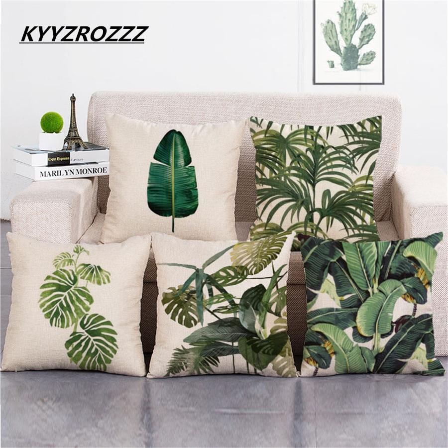 Vert Plante tropicale feuilles Taie d/'oreiller canapé coussin carrée en lin housse