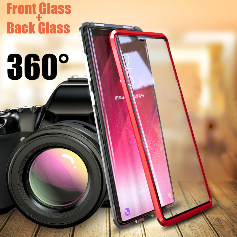 Double sided front+back tempered glass metal Magnetic case for samsung galaxy s9 plus note 9 note9 Aluminum bumper magnet cover Double sided front+back tempered glass metal Magnetic case for samsung galaxy s9 plus note 9 note9 Aluminum bumper magnet cover
