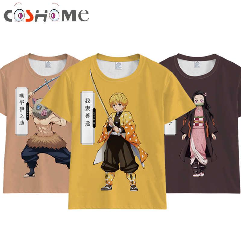 Coshome аниме Demon Slayer Kimetsu no Yaiba Косплей Tanjiro Kamado футболка для мужчин и женщин костюм короткий рукав летние футболки топы