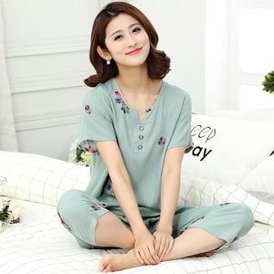 Image 3 - Top Grade nowe kobiece piżamy zestaw bielizna nocna kobiety bawełna nadruk na tkaninie lnianej kwiat piżamy lato dorywczo luźna bielizna nocna odzież domowa