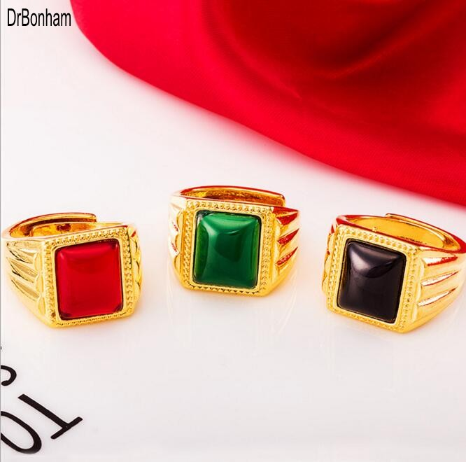 Retro Men Wsdding Rings Red Blue Black Stone Antique 24k Dubai Gold Wedding Brazil South Amercia Alliance Jewelry Whole In From