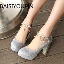 Female Thick Heels Professional Single Dress Shoes Silver Sequins Bride Shoes Round Platform Women Wedding Shoes Big Size 33 43