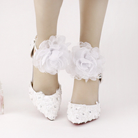 2016 New Summer White Pink Lace Beaded Rhinestone High Heels Shoes Bride Wedding Shoes with Sweet Flowers Wristbands Two-Pieces