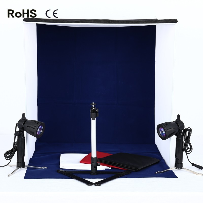 60cm*60cm/23.6inch*23.6inch Portable Photography Lighting Tent Photo Studio Light box 4 Backdrops(Red Black Blue White)