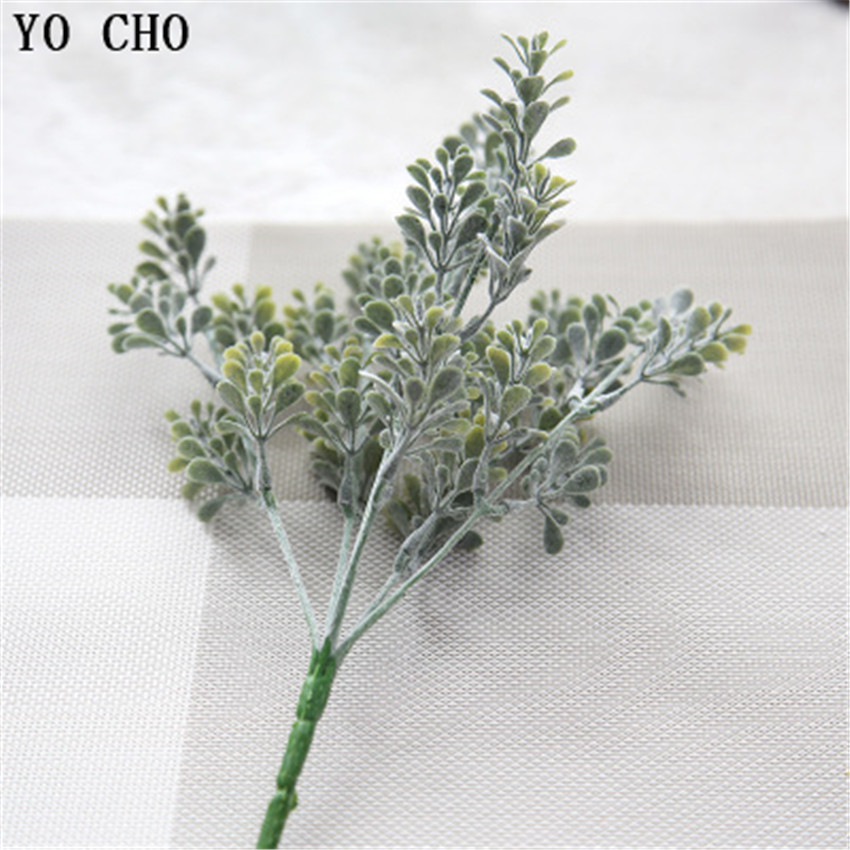 YO CHO High Quality Artificial Plants Flocking Milan Grass Eucalyptus DIY Home Office Garden Verandah Simulation Plants Greenery ...