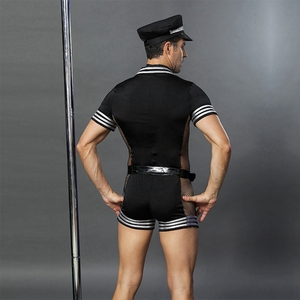 Image 2 - JSY adult men clothes for sex erotic costumes sexy lingerie role playing policeman costume mens black polyester clubwear 6609