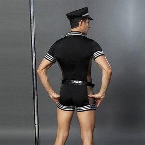Image 2 - JSY erwachsene männer kleidung für sex erotische kostüme sexy dessous rolle spielen polizist kostüm herren schwarz polyester clubwear 6609