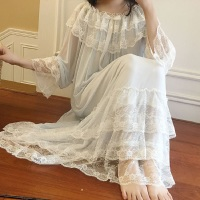 Autumn White Gauze Cotton Women's Nightgowns Lace Long Sleepwear Elegant Female Vintage Princess Night Dress Home Wear 2225