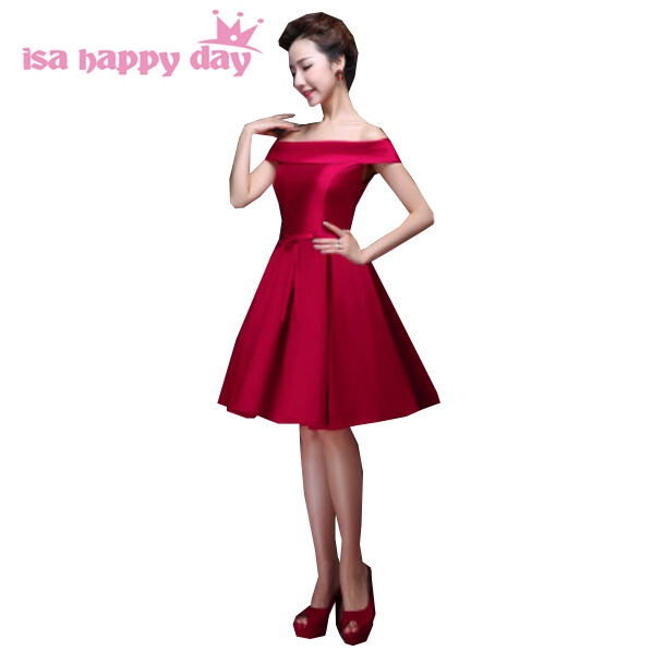 Wedding Party Dress Bridesmaid Dresses Honesty 2019 Short Multi Color Sexy Dark Red Boat Neck Bridesmaid Purple Bridemaid Satin Bridesmaids Dress Bridesmaide Dresses H2904 Careful Calculation And Strict Budgeting