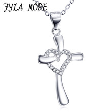 FYLA MODE Genuine 925 Sterling Silver Cross Necklace Fashion Jewelry with A Heart Pendant Holiday Sale