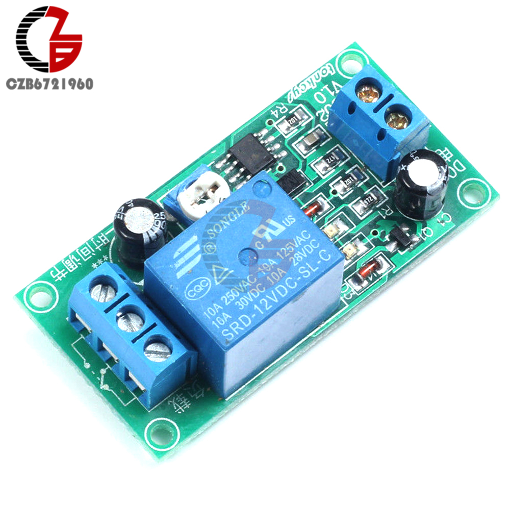NE555 DC 12V Conduction Delay Timer Switch Adjustable Time Delay Relay Module AC 250V 10A DC 30V Connect Module 1pc multifunction self lock relay dc 5v plc cycle timer module delay time relay