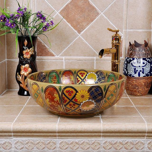 Spanish Style Bathroom Sinks. Europe Vintage Style Antique Art Porcelain Bathroom Vessel Sinks Round Counter Top Basin Jingdezhen