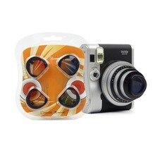 4 Stks/set Gradiënt Kleur Fujifilm Instax Mini 90 Instant Camera Kleurrijke Filters Magic Close Up Lens Camera