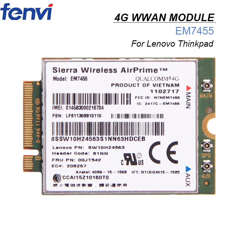 Cartão para Sierra 00jt542 para Lenovo Wwan Wireless Airprime Módulo Em7455 Fru: X260 T460 P50 P70 L560 4g Lte