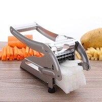 Stainless Steel Home French Fries Maker Potato Chips Strip Slicer Cutting Making Machine Maker Slicer Chopper Dicer + 2 Blades