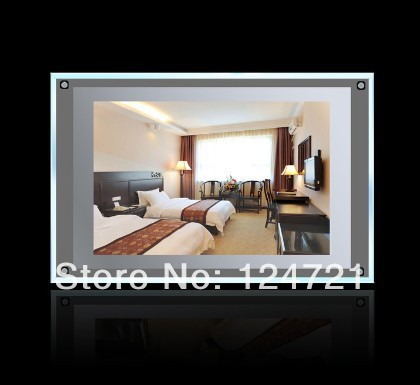 Wall mounted advertising frame a3 acrylic led light box frameless 2014 new style display board free shipping