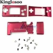Capa de caixa de metal para nintendo gameboy, 5 cores, micro gbm, cobertura frontal, painel frontal, suporte para bateria com parafuso