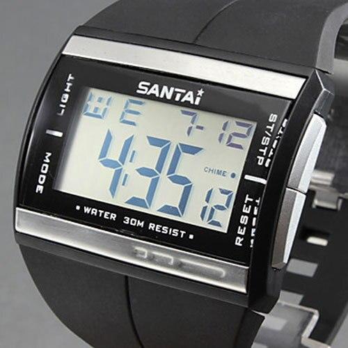 Electronic 2016 New Watches Waterproof Fashion LED Watch Digital Watch SanTai Rubber Band Quartz Watch Men Wristwatch relogio