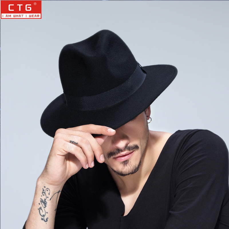 Male wool felt  British Panama Jazz hat 100% wool fedora felt hat Black Panama hat  Wide brim classic trilby hat  B-1509(China)