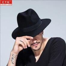 Мужская шерстяная фетровая британская Панама джазовая, шляпа шерсть фетровая шляпа черная Панама шляпа с широкими полями классическая шляпа Трилби B-1509