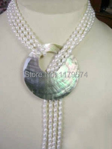 Hot new fashion 6 7MM White Akoya Cultured Pearl Necklace Shell Pendant Fashion Jewelry Making Design Christmas gifts 50'' W0376