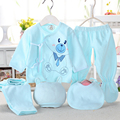 Newborn Baby Clothing Set Baby Boy/Girl Clothes 100% Cotton Cartoon Underwear,(5pcs/set) blue yellow pink
