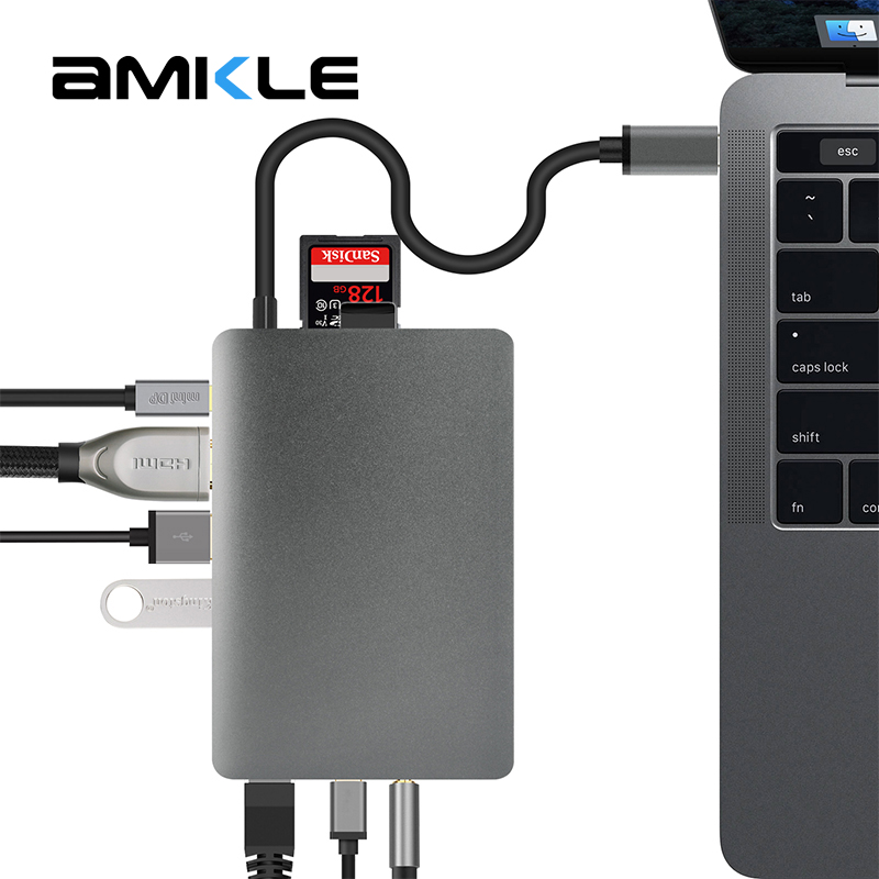 Amkle 9-in-1 USB Hub Multifunction USB-C Hub with Type-C 4K Video HDMI Gigabit Ethernet Adapter USB 3.1 USB C Type C3.1 HUB