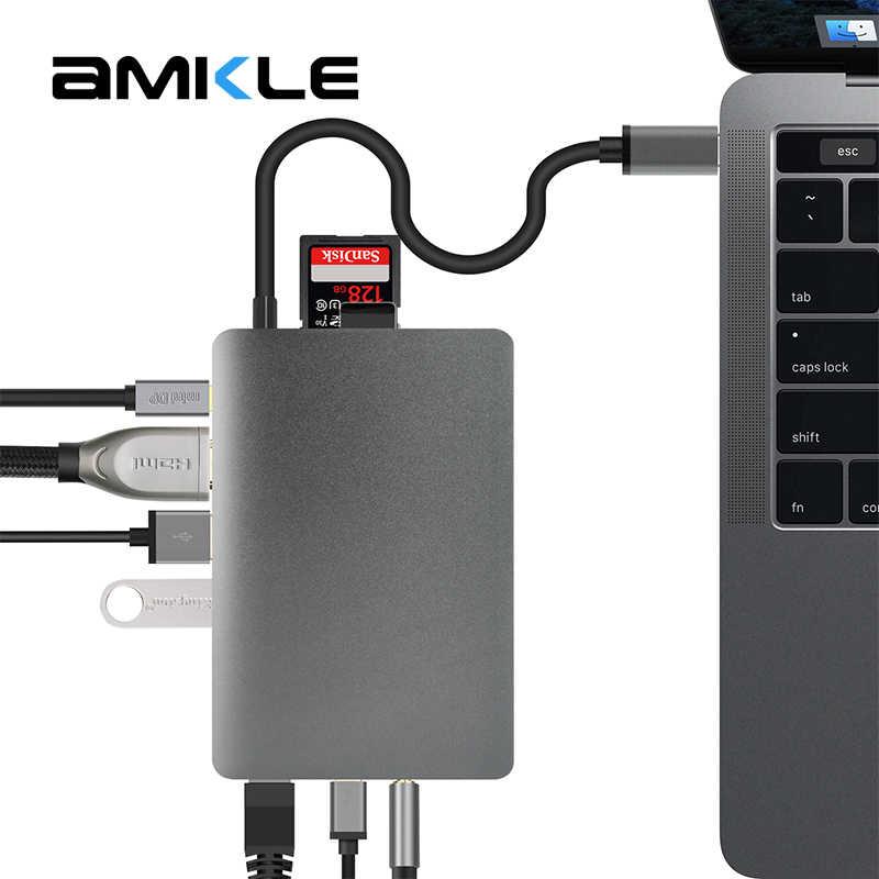 Amkle 9 w 1 USB Hub wielofunkcyjny USB-C Hub z typu C wideo 4K HDMI Gigabit adapter sieci ethernet USB 3.1 USB typu C C3.1 piasty