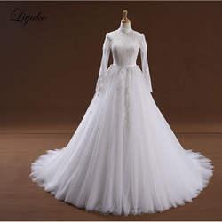 Потрясающее Элегантное свадебное платье трапециевидной формы с круглым вырезом цвета слоновой кости с простой аппликацией
