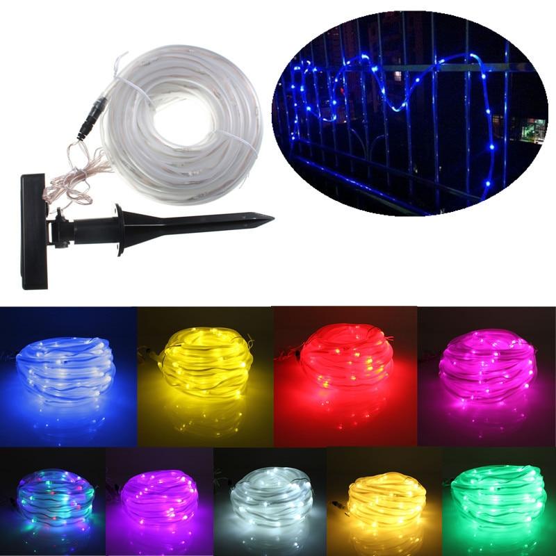 Multicolour 10M 100 LED Solar Light String Lights Christmas Solar Powered Rope <font><b>Tube</b></font> Led Strip Light Waterproof Party Decor