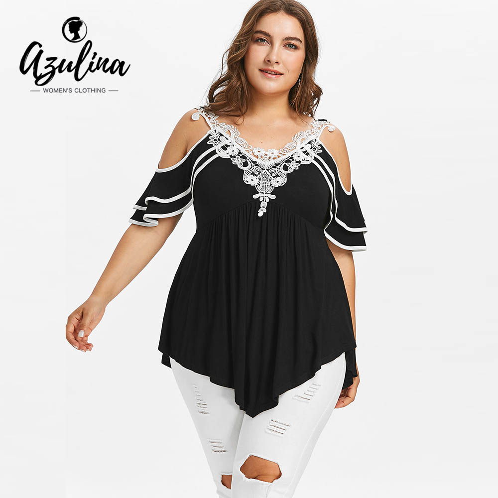 AZULINA Plus Size Cold Shoulder Women T-Shirt Summer Half Butterfly Short Sleeve Lace V-Neck Casual T-Shirt Ladies Tops Clothing