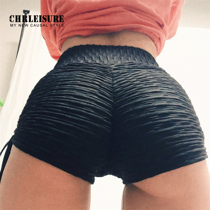 CHRLEISURE Polyester   Shorts   Women High Waist Solid Slim Fold Elasticity Comfortable Push Up Streetwear Girl   Shorts   Fitness